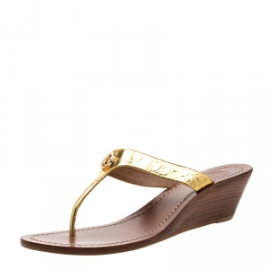 Tory Burch Metallic Gold Leather Cameron Wedge Thong Sandals Size 38