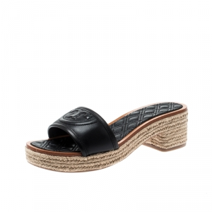 Tory Burch Black Leather Fleming Espadrille Slides Size 37.5
