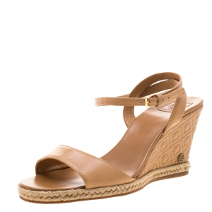 Tory Burch Brown Leather Marion Espadrille Trim Quilted Wedge Sandals Size 37.5