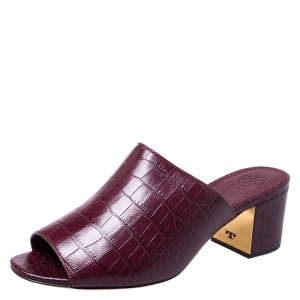 Tory Burch Burgundy Croc Embossed Leather Salinas Peep Toe Sandals Size 37.5