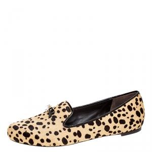 Tory Burch Beige/Brown Cheetah Print Calf Hair Chandra Loafers Size 39