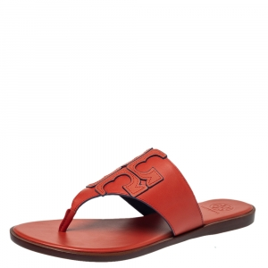 Tory Burch Red Leather Jamie Flat Thong Sandals Size 39.5