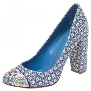 حذاء كعب عالي توري برش أثيل كانفاس مطبوع أزرق مقاس 35.5