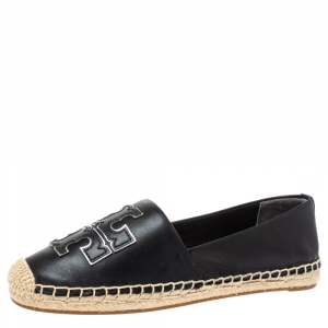 Tory Burch Black Leather Ines Logo Espadrille Flats Size 36.5