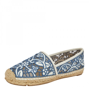 Tory Burch Blue/White Embroidered Leather Cutout Espadrille Flats Size 40.5 -