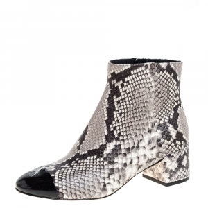 Tory Burch Black/White Python Embossed Leather Shelby Ankle Boots Size 38.5 -