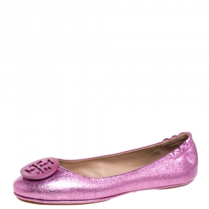 Tory Burch Metallic Pink Leather Minnie Travel Ballet Flats Size 40 -