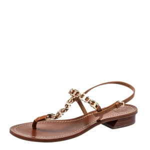 Tory Burch Brown Leather Gemini Link Detail Flat Sandals Size 37.5 - used