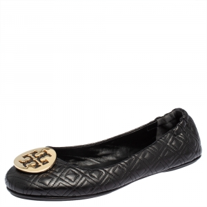 Tory Burch Black Leather Reva Ballet Flats Size 41