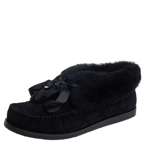 Tory Burch Black Suede and Shearling Aberdeen Sneaker Size 37.5 - used