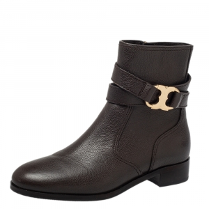 Tory Burch Brown Leather Ankle Length Boots Size 36