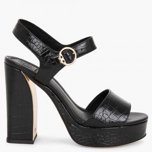Tory Burch Black Leather Martine Platform Sandals Size EU 40