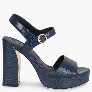 Tory Burch Blue Leather Martine Platform Sandals Size EU 38
