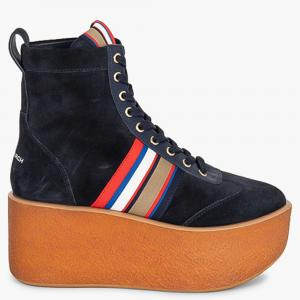 Tory Burch Blue Leather Striped High-Top Platform Sneakers Size EU 39.5