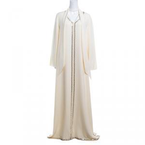 Tory Burch Cream Mirror Embellished Silk Abaya and Scarf Set L