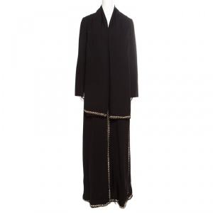 Tory Burch Black  Mirror Embellished Silk Abaya and Scarf Set S