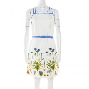 Tory Burch White Cotton and Linen Cornflower Embroidered Emilia Dress M