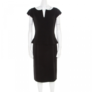 Tory Burch Black Crepe Cap Sleeve Peplum Katy Dress M