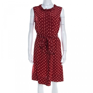 Tory Burch Brick Red Polka Dot Graham Sleeveless Dress M