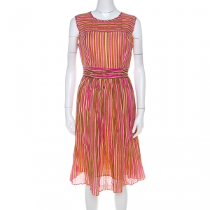 Tory Burch Orange and Pink Striped Linen A Line Dress S