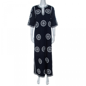 Tory Burch Navy Blue Cotton Mirror Embroidered Kaftan Dress S