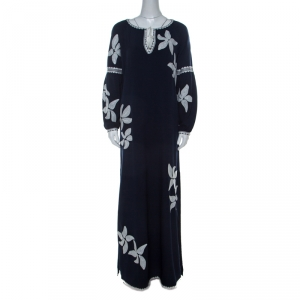 Tory Burch Navy Blue Crepe Embroidered Full Sleeve Jillian Maxi Dress M - used