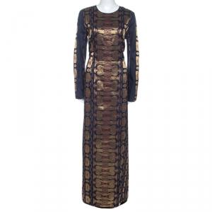 Tory Burch Navy Blue Silk Blend Jacquard Gown L - used