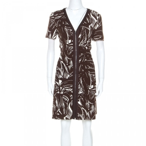 Tory Burch Brown Printed Stretch Knit Coconut Tabora Dress M