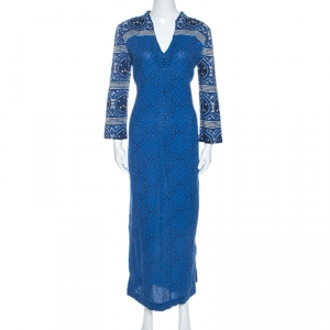Tory Burch Blue Printed Cotton Long Sleeve Maxi Dress M