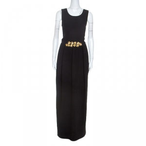 Tory Burch Black Embellished Crepe Criss Cross Back Sleeveless Gown S - used