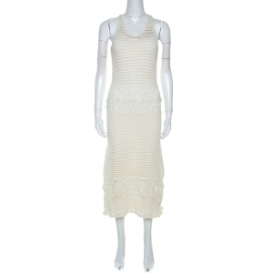 Tory burch Off White Crochet Knit Nerano Tank Dress M used