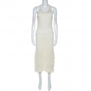 Tory burch Off White Crochet Knit Nerano Tank Dress M used