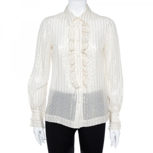 Tory Burch Cream Lurex Striped Silk Ruffled Shirt M