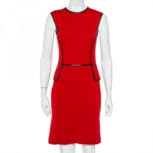Tory Burch Red Wool Contrast Leather Trim Detail Sleeveless Sheath Dress XS