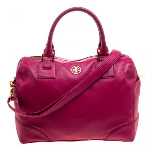 Tory Burch Pink Leather Robinson Middy Satchel