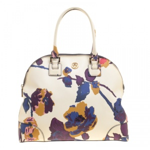 Tory Burch Off White/Multicolor Floral Print Large Robinson Dome Satchel