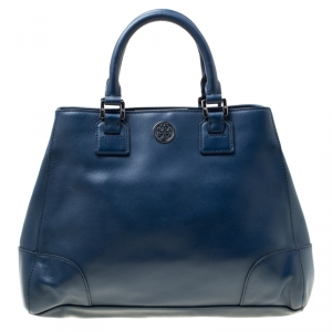 Tory Burch Navy Blue Leather Robinson Tote
