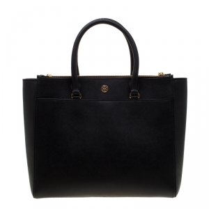 Tory Burch Black Leather Robinson Double-Zip Tote