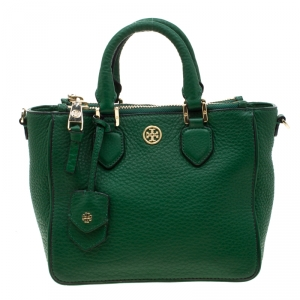 Tory Burch Green Leather Robinson Square Double Zip Tote