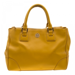 Tory Burch Yellow Leather Robinson Tote