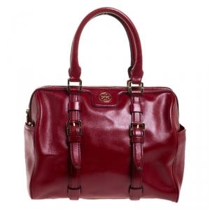 Tory Burch Red Leather Robinson Boston Bag