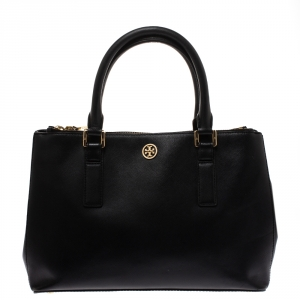 Tory Burch Black Leather Double Zip Robinson Tote