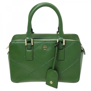 Tory Burch Green Stitched Leather Robinson Satchel