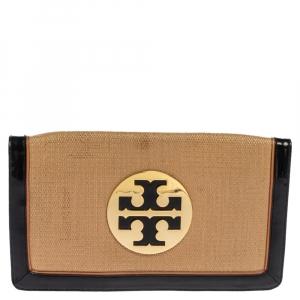 Tory Burch Tan/Black Raffia and Patent Leather Reva Foldover Clutch