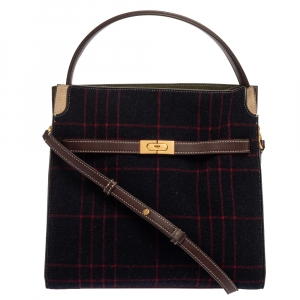 Tory Burch Multicolor Check Wool and Suede Lee Radziwill Top Handle Bag
