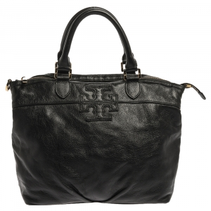 Tory Burch Black Leather Logo Embossed Tote