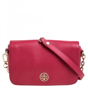 Tory Burch Red Leather Mini Robinson Crossbody Bag