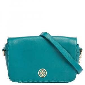 Tory Burch Blue Leather Mini Robinson Crossbody Bag