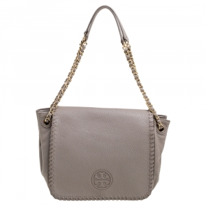 Tory Burch Taupe Leather Flap Marion Shoulder Bag
