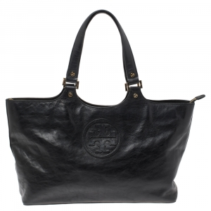 Tory Burch Black Leather Bombe Tote